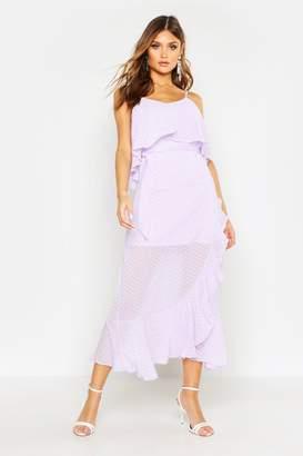boohoo Strappy Dobby Chiffon Ruffle Midi Dress