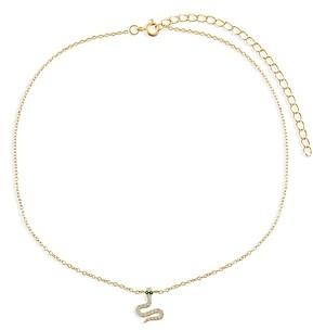 Adina's Jewels Pave Snake Charm Choker Necklace, 11.5-14.5