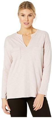 Lilla P Loose Knit Slub Long Sleeve Split-Neck Top (Iced Lilac) Women's Clothing