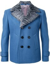Thom Browne double-breasted classic lapels coat - men - Cupro/Wool/Lamb Fur - 0