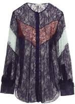 Nina Ricci Ruffle-Trimmed Color-Block Lace Shirt