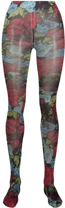 Versace Floral Print Tights