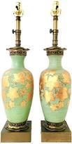 One Kings Lane Vintage Antique Pair Of Venetian Glass Lamps - Jacki Mallick Designs - green/gold