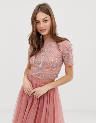 Lace & Beads floral embellished crop top co ord in terracotta-Orange
