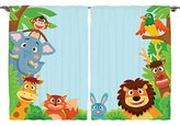 Ambesonne Girls Boys Nursery Kids Baby Decor Collection, Cute Jungle Cartoon Animals Parrot Bird Bunny Fox Giraffe Monkey Art, Window Treatments for Kids Bedroom Curtain 2 Panels Set, 108X84 Inches