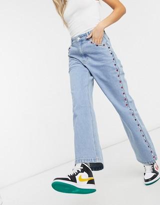 Milk It vintage straight leg jeans with rhinestone details