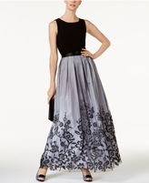 Jessica Howard Belted Pleated Floral-Border Gown