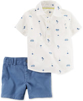 Carter's 2-Pc. Cotton Printed Polo Shirt & Shorts Set, Baby Boys (0-24 Months)