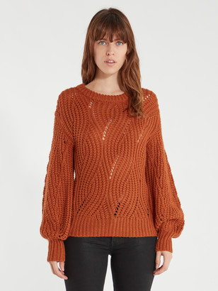ASTR the Label Dora Pointelle Puff Sleeve Sweater