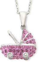 JCPenney FINE JEWELRY Sterling Silver Pink Crystal Baby Carriage Pendant Necklace