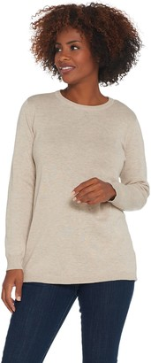 Joan Rivers Classics Collection Joan Rivers Crew Neck Sweater with Back Button Detail