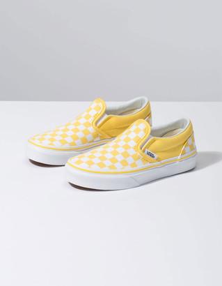 Vans Checkerboard Classic Slip-On Aspen Gold & True White Kids Shoes