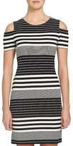 1 STATE 1.STATE Cold Shoulder Multi Stripe Knit Dress
