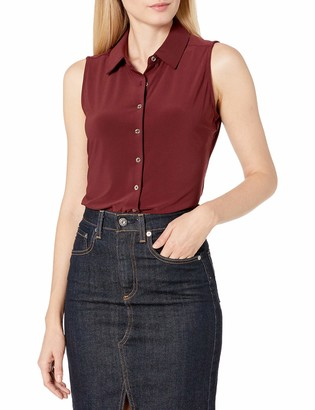 Tommy Hilfiger Women's Collared Button Down Sleeveless Knit Top