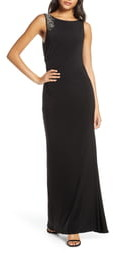 Vince Camuto Embellished Boat Neck Evening Gown