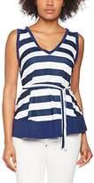 Hot Squash Women's V Striped Neck Tie Vest Tops