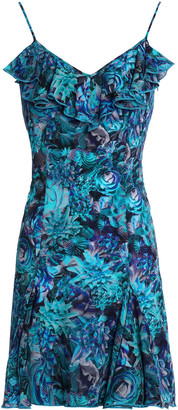 La Perla Ruffled Floral-print Silk-blend Crepe Mini Dress