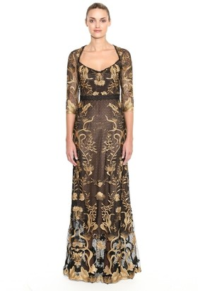 Marchesa Notte Embroidered Guipure Lace Evening Gown