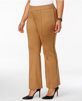 INC International Concepts Plus Size Faux-Leather-Trim Trousers, Created for Macy's
