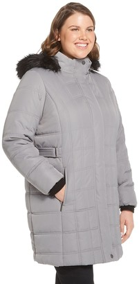 Plus Size Weathercast Hooded Quilted Puffer Jacket