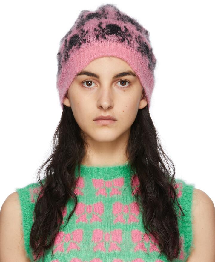 Ashley Williams SSENSE Exclusive Pink & Black Mohair Spider Beanie