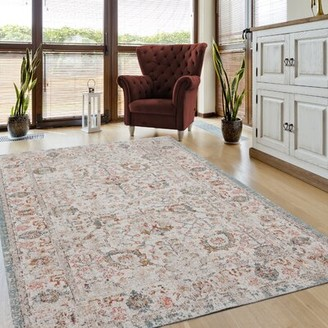"Bungalow Rose Whipkey Botanical Beige/Cream Indoor/Outdoor Area Rug Rug Size: Rectangle 7'8"" W x 9'8"" L"