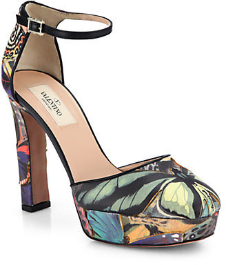 Valentino Butterfly-Print Leather Pumps