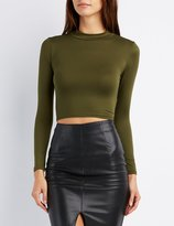 Charlotte Russe Mock Neck Lace-Up Back Crop Top
