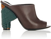 Balenciaga Women's Contrast-Heel Leather Mules-DARK BROWN