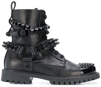 Philipp Plein Stud Strap Combat Boots