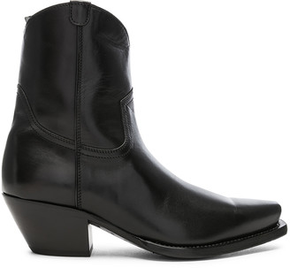 R 13 Leather Cowboy Ankle Boots in Black | FWRD