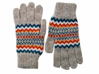 Alan Santry Ladies Lambswool Craigtoun Fairisle Gloves - British Made - Silver Grey/Orange/Pink