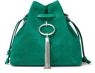 Jimmy Choo CALLIE DRAWSTRING/S Emerald Suede Bucket Bag with Chain Strap