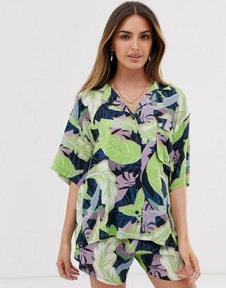 Asos Design DESIGN short sleeve oversized hawaiian shirt in tropical print co-ord-Multi