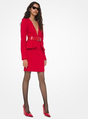 Michael Kors Double Crepe Sable Peplum Plunge Dress