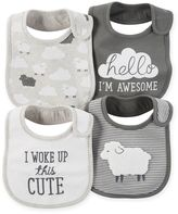 Carter's 4-Pack Lamb Teething Bibs in Grey/White