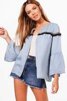 boohoo Tina Tassel Trim Denim Jacket