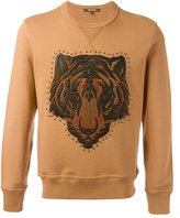 Roberto Cavalli lion studded applique sweatshirt - men - Cotton/Calf Leather/Lamb Skin/Crystal - M