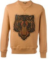 Roberto Cavalli lion studded applique sweatshirt