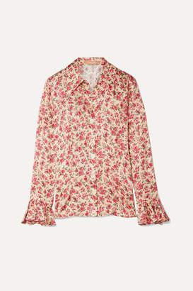 Michael Kors Ruffled Floral-print Silk-jacquard Shirt - Blush