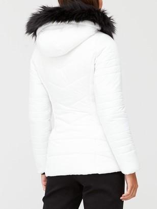 Very Short Faux Fur Trim Padded Jacket - White
