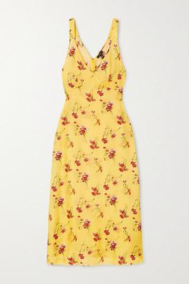 R 13 Printed Silk-trimmed Satin Midi Dress - Yellow