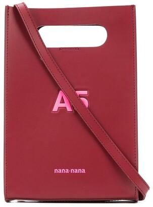 Nana-Nana A5 logo embossed top handle mini bag