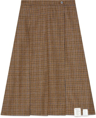 Gucci Pleated houndstooth wool skirt