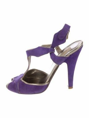 Valentino Suede T-Strap Sandals Purple