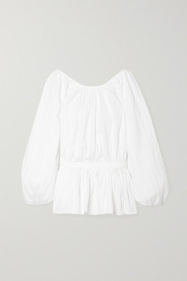 Mara Hoffman Maud Striped Organic Cotton-jacquard Blouse - White