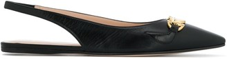 Gucci Sling Back Mules With Logo Buckle Detail