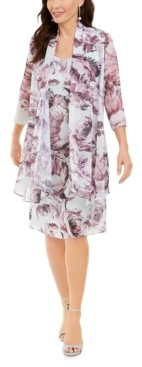 R & M Richards Petite Floral-Print Dress & Jacket
