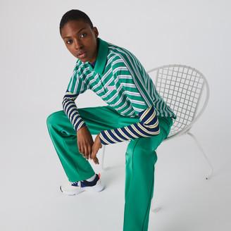 Lacoste Women's LIVE Loose Fit Badge Striped Cotton Pique Polo Shirt