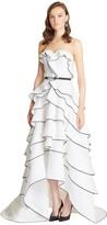 Oscar de la Renta Flower Jacquard Sweetheart Tiered Gown